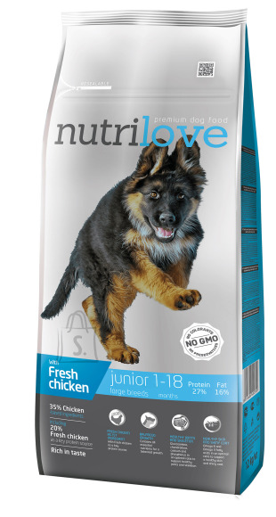 Nutrilove dog dry JUNIOR L  fresh chicken 12kg