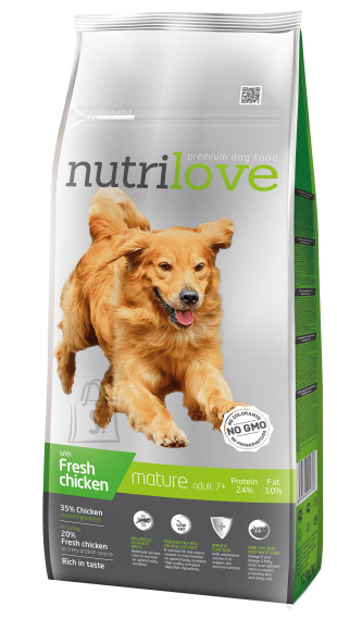 Nutrilove dog dry SENIOR  fresh chicken 12kg