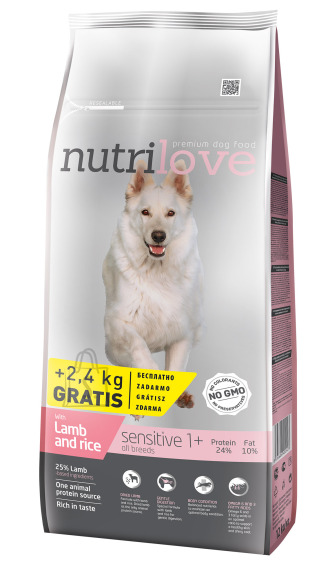 Nutrilove dog dry SENSITIVE lamb and rice  12+2,4kg