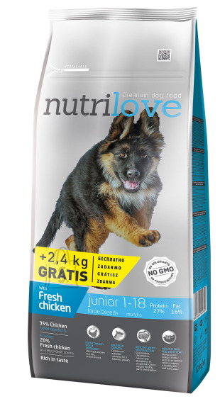Nutrilove dog dry JUNIOR L  fresh chicken 12+2,4kg