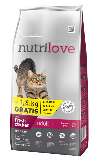 Nutrilove cat dry ADULT fresh chicken 8+1,6kg