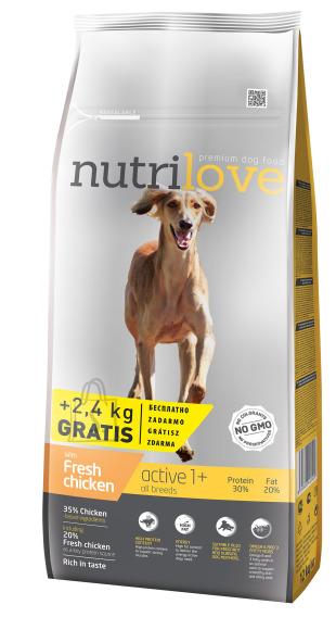 Nutrilove dog dry ACTIVE  fresh chicken 12+2,4kg