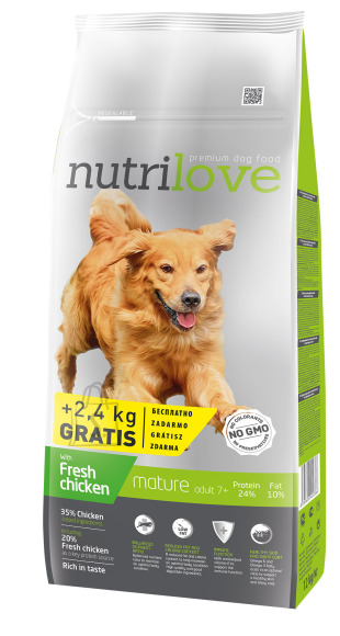 Nutrilove dog dry SENIOR  fresh chicken 12+2,4kg
