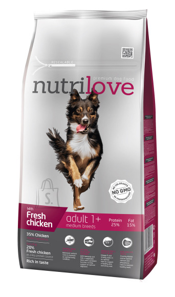 Nutrilove dog dry ADULT M  fresh chicken 8kg