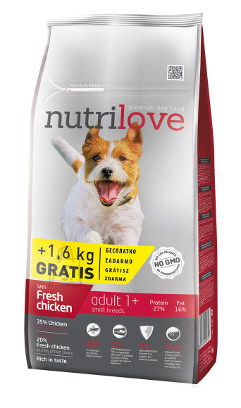 Nutrilove koeratoit adult small fresh chicken 8 +1,6kg