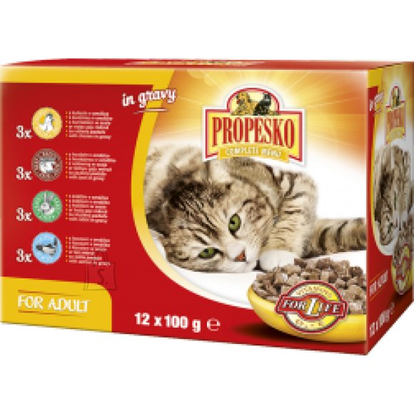 Propesko kassieine 12X100g - 3tk kanaga, 3tk lõhega, 3tk jänesega, 3tk loomalihaga