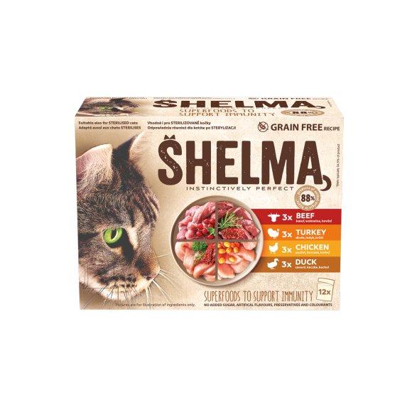 Shelma kassieined lihaga 12x85g veis,kana,part,kalkun kastmes