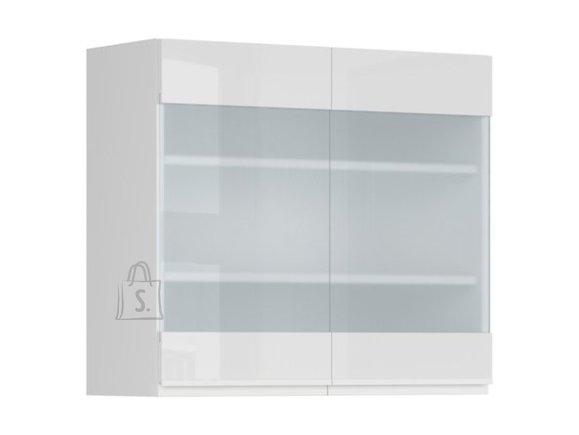 Ülemine köögikapp 2 osaliselt klaasist uksega Oslo 80x72 cm hall