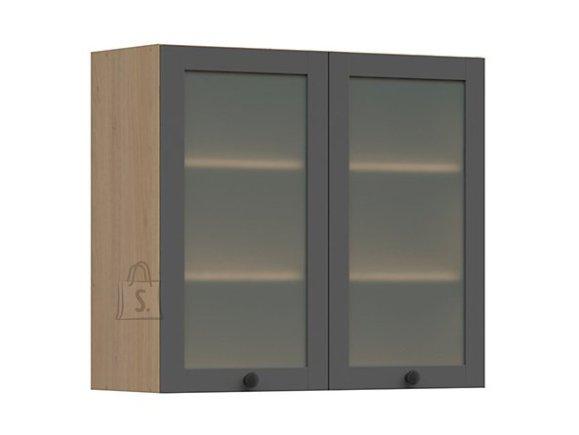 Nordic Ülemine köögikapp 2 klaasist uksega Lund 80x72 grafiit