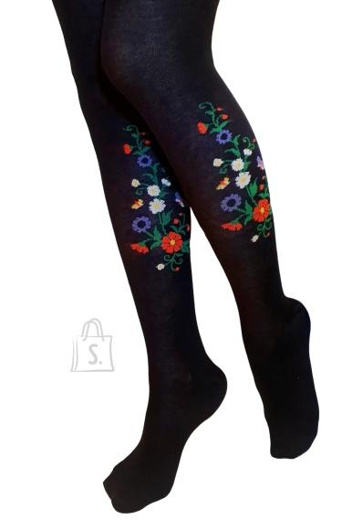 Sokisahtel MIRJAM mustad rahvusliku lillemustriga sukkpüksid naistele XL