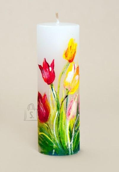 Võhma Valguse Vabrik Käsitsi maaliktud küünal rõõmsad tulbid 4x12cm - 25h