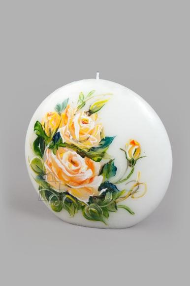 Võhma Valguse Vabrik Käsitsi maalitud küünal Kollased roosid 15x14x5cm