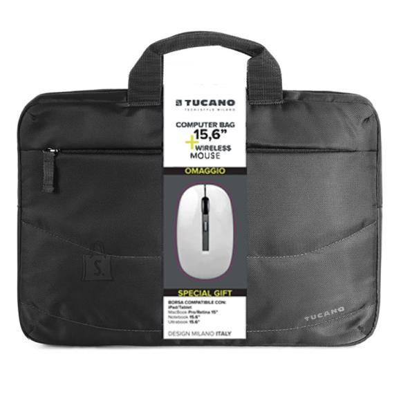 """Tucano sülearvutikott Idea + juhtmevaba hiir 15,6"""""""