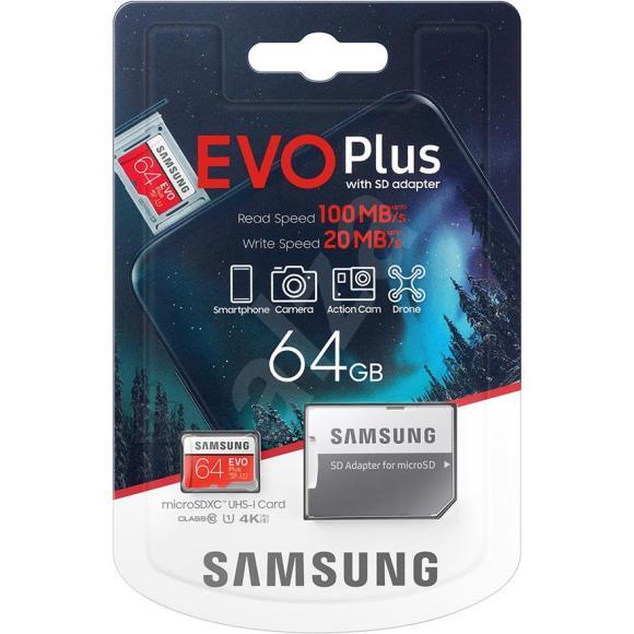 Samsung Micro SDXC mälukaart + adapter Samsung EVO Plus (64 GB)