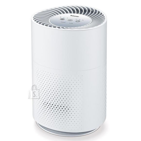 Beurer <br /><br /> <br /><br /> <p>Parem elukvaliteet! L&otilde;puks saab kodus s&uuml;gavalt sisse hingata. &Otilde;ietolmul peentolmul ja muudel osakestel ei ole enam v&otilde;imalust. T&auml;nu HEPA H13 kolmekihilisele filtris&uuml;steemile filtreeritakse &otilde;hust v&auml;lja kuni 99,95% k&otilde;igist osakestest, mis on suuremad kui 0,3 &micro;m.<br /><br />&bull; &Otilde;hu puhastamine l&auml;bi kolmekihilise filtris&uuml;steemi (eelfilter + HEPA H13 filter * + aktiivs&uuml;si)<br />&bull; Kuni 37 m&sup2; suuruste tubade jaoks<br />&bull; Turbo re??iimiga kiireks &otilde;hu puhastamiseks<br />&bull; &Ouml;&ouml;re??iimiga: &uuml;livaikne t&ouml;&ouml; ja h&auml;mardunud juhtpaneel<br />&bull; Taimer<br /><br />* 99,95% osakestest (nt bakterid, viirused, peen tolm, &otilde;ietolm) saab v&auml;lja filtreerida</p><br /><br /> <br /><br /> <p>&bull; 3 v&otilde;imsustaset<br />&bull; Valgustatud juhtpaneel<br />&bull; Automaatne v&auml;ljal&uuml;litus<br />&bull; Vaikne t&ouml;&ouml;<br />&bull; &Otilde;huvoolu kiirus kuni 125 m3/h<br />&bull; Sobib ruumi suurusele: 13 m&sup2; - 37 m&sup2;<br />&bull; Vahetatav filter filtri vahetamise indikaatoriga<br />* 99,95% osakestest (nt bakterid, viirused, peen tolm, &otilde;ietolm) saab v&auml;lja filtreerida</p><br /><br /> <strong>??LDISED PARAMEETRID</strong><br /><br /> V??rv: <strong>valge</strong><br /><br /> Tootja: <strong>Beurer</strong><br /><br /> <br /><br /> <strong>M????TMED</strong><br /><br /> Kaal: <strong>2.9 kg</strong><br /><br /> K??rgus: <strong>34 cm</strong><br /><br /> Laius: <strong>22 cm</strong><br /><br /> S??gavus: <strong>22 cm</strong><br />