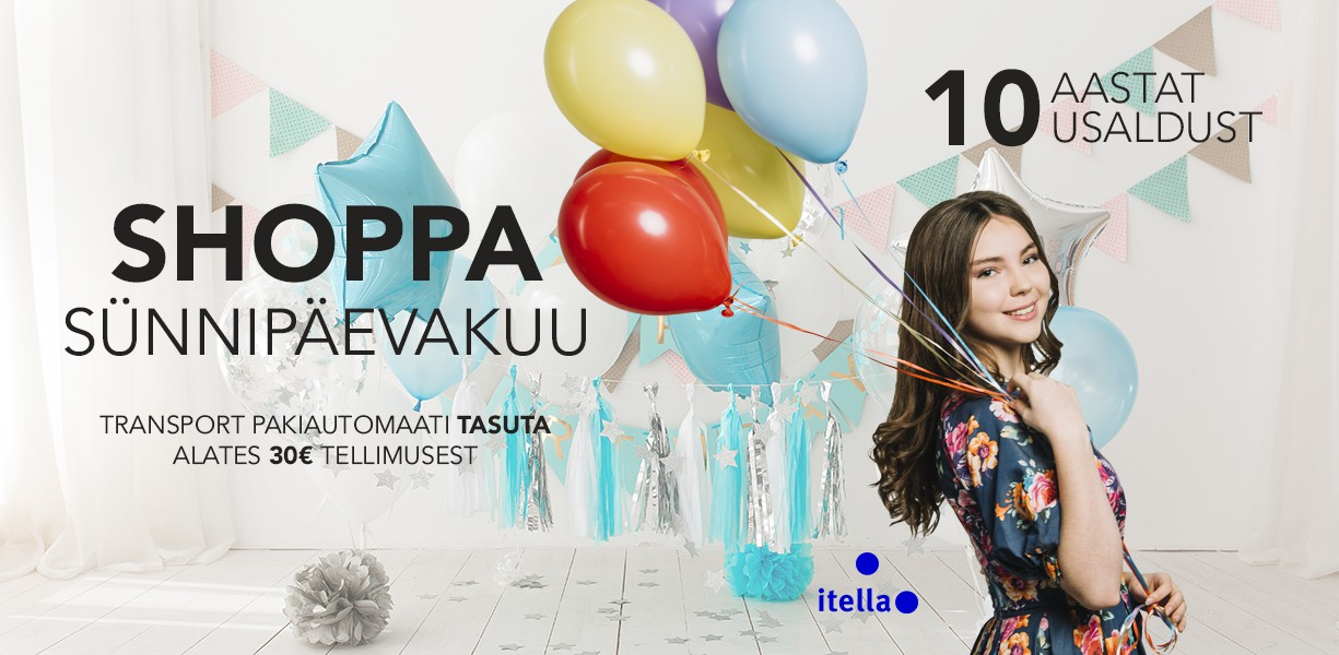 Shoppa sünnipäevakuu. Transport pakiautomaati TASUTA alates 30€ tellimusest
